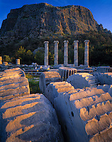 Temple of Athena at Priene, Aegean Sea, Turkey    Greek ruins from 350 BC   Built by the architect Pytheos   Sunrise