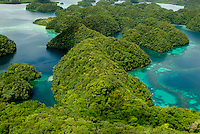 Aerial view over the Rock islands, Palau Micronesia