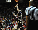 Ole Miss' Reginald Buckner (23) shoots as Mississippi State's Arnett Moultrie (23) defends at the C.M. &quot;Tad&quot; Smith Coliseum in Oxford, Miss. on Wednesday, January 18, 2012. (AP Photo/Oxford Eagle, Bruce Newman).