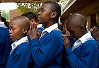 Mar. 12, 2013; Students say morning prayers at Dominican Convent School in Johannesburg, South Africa.<br /> <br /> Photo by Matt Cashore/University of Notre Dame