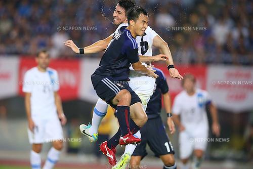 Shinji Okazaki (JPN), AUGUST 14, 2013 - Football / Soccer : <br /> KIRIN Challenge Cup 2013 match <br /> between Japan 2-4 Uruguay <br /> at Miyagi Stadium, Miyagi, Japan.<br />  (Photo by AFLO SPORT)