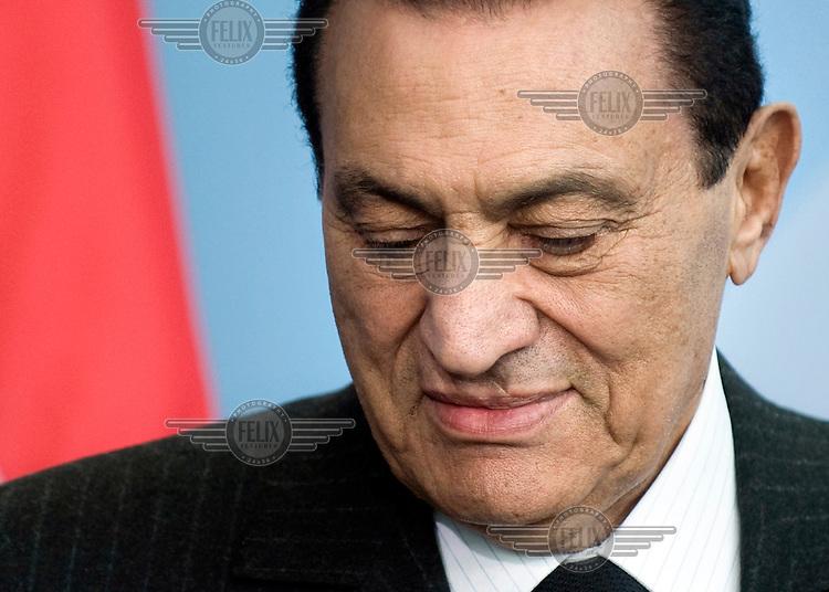 Mohamed Hosni Mubarak, president of Egypt, at a press call.