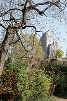 Low angle view of Grand Rocher (Great Rock), seen through the trees, Parc Zoologique de Paris, or Zoo de Vincennes, (Zoological Gardens of Paris, also known as Vincennes Zoo), 1934, by Charles Letrosne, 12th arrondissement, Paris, France, pictured on April 11, 2011 in the morning. In November 2008 the 15 hectare Zoo, part of the Museum National d'Histoire Naturelle (National Museum of Natural History) closed its doors to the public and renovation works will start in September 2011. The Zoo is scheduled to re-open in April 2014. Picture by Manuel Cohen.