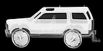 X-ray image of a getaway car (white on black) by Jim Wehtje, specialist in x-ray art and design images.