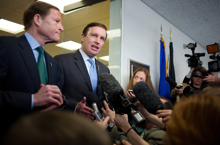 UNITED STATES - APRIL 9: Sen. Richard Blumenthal, D-Ct., and Sen. Christopher Murphy, D-Ct., are interviewed by the press after meeting the parents of the Newtown shooting victims. The parents are on Capitol Hill this week, lobbying to support a vote on the current proposals of gun background checks.  (Photo By Chris Maddaloni/CQ Roll Call)