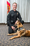 Brody, a male Belgian Malinois trained as an explosive- detection canine will partner with  Ohio Police Department Officer Adam Hoffman. Photo by Ben Siegel