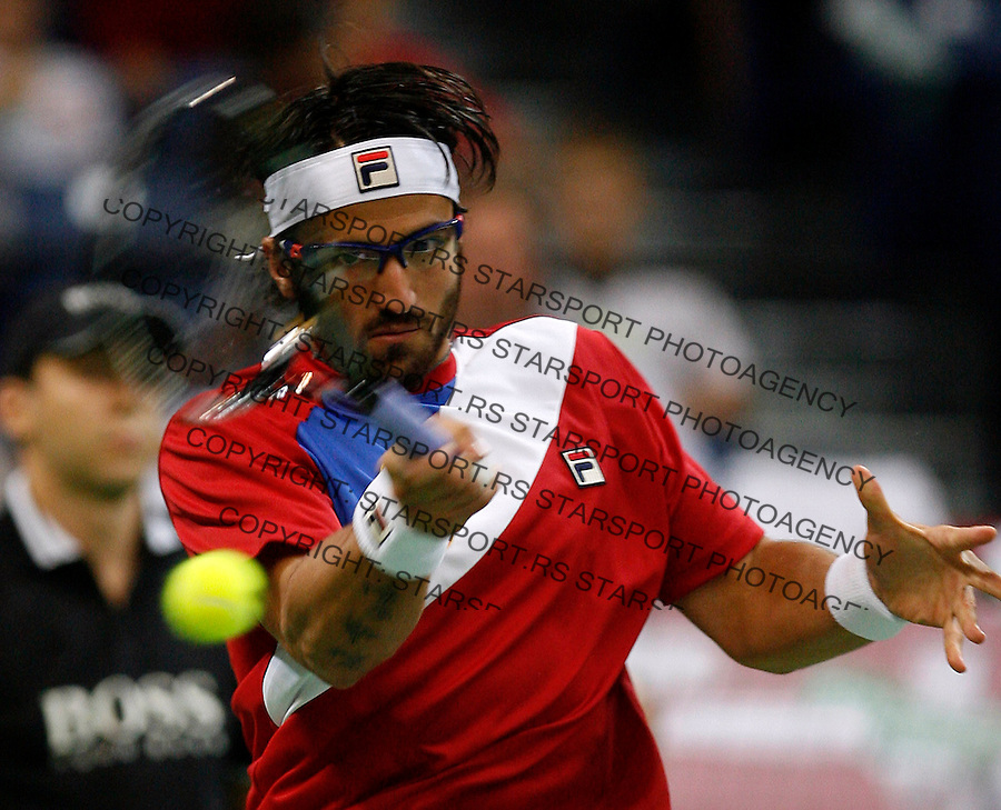 Serbia Davis Cup team player Janko Tipsarevic returns the ball during Davis Cup semifinal match Serbia vs Czech Republic in Belgrade, SERBIA, Friday, September 17, 2010. (credit & photo: Pedja Milosavljevic / +381 64 1260 959 / thepedja@gmail.com)