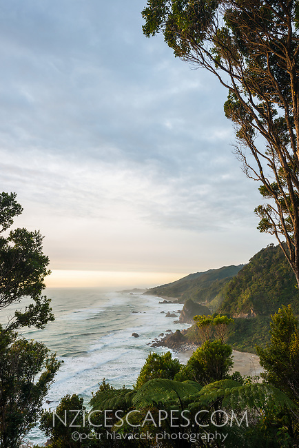 Wild west coast coastline near Punakaiki at setting sun, Paparoa National Park, Buller Region, West Coast, New Zealand, NZ