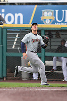 Scranton/Wilkes-Barre RailRiders right fielder Aaron Judge (99) tracks down a fly ball against the Rochester Red Wings on May 1, 2016 at Frontier Field in Rochester, New York. Rochester defeated Scranton 1-0.  (Christopher Cecere/Four Seam Images)