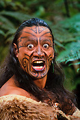 Maori man in kiwi cloak making traditional threat gesture, Rotorua, New Zealand