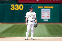 6 April 2008: A's outfielder #22 Jack Hannahan is seen during the Cleveland Indians 2-1 victory over the Oakland Athletics at the McAfee Coliseum in Oakland, CA.