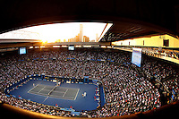MELBOURNE, AUSTRALIA - JANUARY 25:  The sun sets over Melbourne at Rod Laver Arena during day 10 of The Australian Open of Tennis.  (Photo by Marianna Massey/Marianna Massey)