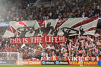 New York Red Bulls Tifo. The New York Red Bulls and the Philadelphia Union played to a 0-0 tie during a Major League Soccer (MLS) match at Red Bull Arena in Harrison, NJ, on August 17, 2013.