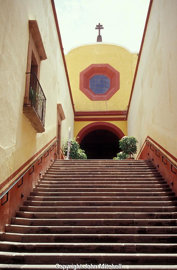 Entrance to the restored 18th century Capilla de Aranzazu in the city of San Luis Potosi, Mexico