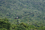 Daintree Rainforest Observatory Canopy Crane. The crane is a Liebherr 91 EC, freestanding construction tower crane. The crane is 47 metres tall with a radius of 55 metres. It can rotate 360 degrees enabling access to 1 hectare of rainforest. A suspended basket (gondola or dogbox) is attached at the hook to carry personnel into the canopy.
