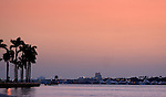 Sunrise over the Inter-coastal Waterway looking from West Palm Beach toward Palm Beach, Florida, USA.