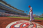 25 July 2013: Washington Nationals first baseman Adam LaRoche stands on deck during a game against the Pittsburgh Pirates at Nationals Park in Washington, DC. The Nationals salvaged the last game of their series, winning 9-7 ending their 6-game losing streak. Mandatory Credit: Ed Wolfstein Photo *** RAW (NEF) Image File Available ***