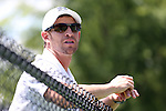 14 May 2016: Michigan assistant coach Sean Maymi. The Wake Forest University Demon Deacons hosted the University of Michigan Wolverines at the Wake Forest Tennis Center in Winston-Salem, North Carolina in a 2015-16 NCAA Division I Men's Tennis Tournament Second Round match. Wake Forest won the match 4-2.