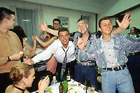 Kosovo. Village of Gaglavica. Farewell party for a young serb man joining the army in order to become a soldier. Men celebrate, cheer and drink together. Kosovo (Albanian: Kosova) is a province of Serbia. While Serbia's sovereignty is recognised by the international community, in practice Serbian governance in the Kosovo province is virtually non-existent.  &copy; 1995 Didier Ruef