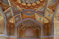 View from below of interior,  Ak-Sarai Mausoleum, (White Palace), Samarkand, Uzbekistan, pictured on July 18, 2010. The Ak-Sarai Mausoleum, located South East of the Gur-Emir Mausoleum, is also a Timurid tomb, commissioned by Abu Sa'id (1451-1468/9). It has an underground octahedral crypt where a headless skeleton was discovered in a  niche by the eastern wall, possibly Ulugh Beg's eldest son Abd al-Latif (c.1420-50), who ordered his father's death, and was later executed himself. Samarkand, a city on the Silk Road, founded as Afrosiab in the 7th century BC, is a meeting point for the world's cultures. Its most important development was in the Timurid period, 14th to 15th centuries. Picture by Manuel Cohen.