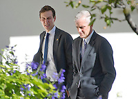 Jared Kushner and White House Chief of Staff Denis McDonough walk through the Rose Garden as they discuss the Presidential Transition as United States President Barack Obama meets US President -elect Donald Trump in the Oval Office of the White House in Washington, DC on November 10, 2016.<br />