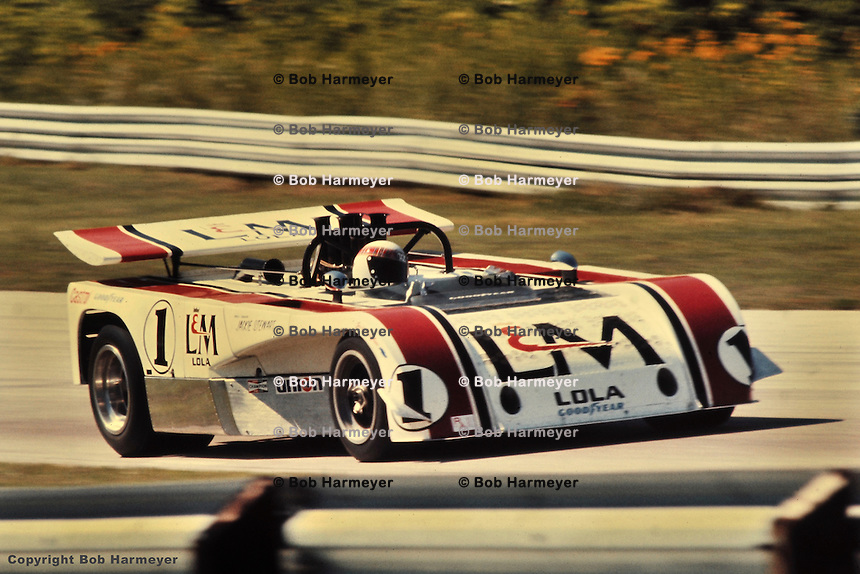 Jackie Stewart drives the 1971 L&M Lola-Chevrolet Can-Am car at Road America, Elkhart Lake, Wisconsin, USA.