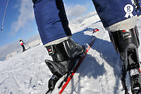 Skis and ski boots on snow , French Alps, France (Licence this image exclusively with Getty: http://www.gettyimages.com/detail/89958070 )