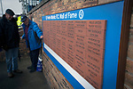 Forfar Athletic 1 Edinburgh City 2, 02/02/2017. Station Park, SPFL League 2. Two home supporters inspect the club's new Wall of Fame at Station Park, Forfar before the SPFL League 2 fixture between Forfar Athletic and Edinburgh City. It was the club's sixth and final meeting of City's inaugural season since promotion from the Lowland League the previous season. City came from behind to win this match 2-1, watched by a crowd of 446. Photo by Colin McPherson.