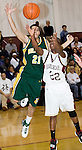WATERBURY, CT- 02 JAN 2008- 010208JT05-<br /> Holy Cross' Rob Mannetti and Sacred Heart's Terrence Love reach for a rebound during Wednesday's game at Sacred Heart. Cross remains undefeated, beating Sacred Heart 61-46. <br /> Josalee Thrift / Republican-American