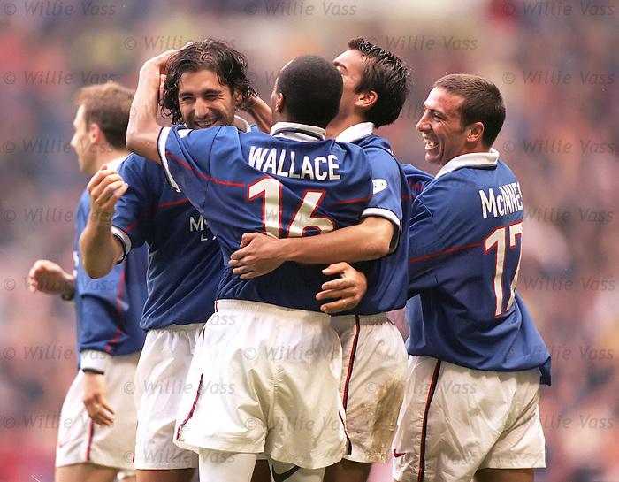 Gabriel Amato celebrates scoring for Rangers