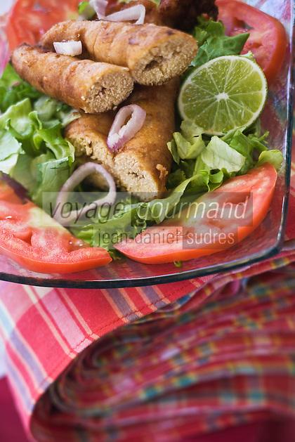 """FFrance/DOM/Martinique/Grand-Rivière : Salade croquante d'oeufs de dorade à la créole Recette d' Arlette  du Restaurant """"Chez Tante Arlette"""""""