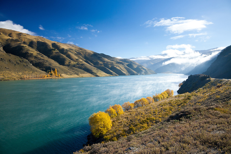 Morning mist and golden autumnal willow trees in the Cromwell Gorge near the Clyde Dam, Central Otago, South Island, New Zealand - stock photo, canvas, fine art print