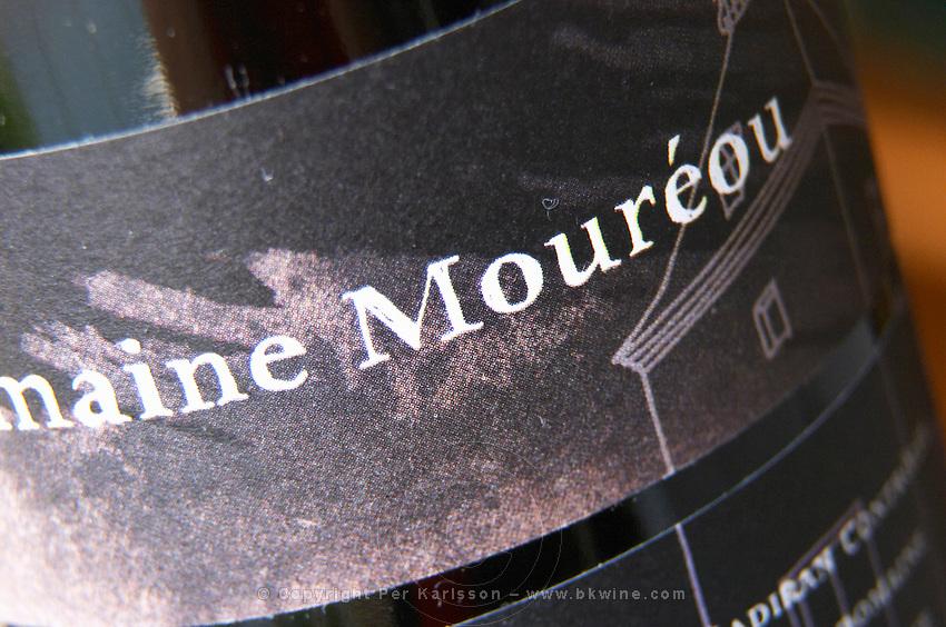 Bottle of detail of label Domaine Moureou Madiran France