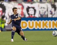 New England Revolution midfielder Ryan Guy (13) passes the ball. In a Major League Soccer (MLS) match, the New England Revolution defeated FC Dallas, 2-0, at Gillette Stadium on September 10, 2011.