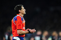 Referee Pascal Gauzere watches a replay on the big screen. Old Mutual Wealth Series International match between England and Argentina on November 26, 2016 at Twickenham Stadium in London, England. Photo by: Patrick Khachfe / Onside Images
