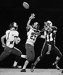 Photo by Jenna Watson<br /> Wide receiver James Brock (right) fights to receive the ball as a Betsy Layne opponent forced an incompletion during the second half of the game in Hyden, Ky. on Friday, Oct. 11, 2013.