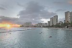 """A overall shot of Waikiki's skyline taken from the """"Wall"""" at Waikiki."""