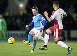 St Johnstone v Rangers&hellip;28.12.16     McDiarmid Park    SPFL<br />Chris Millar is closed down by James Tavernier<br />Picture by Graeme Hart.<br />Copyright Perthshire Picture Agency<br />Tel: 01738 623350  Mobile: 07990 594431