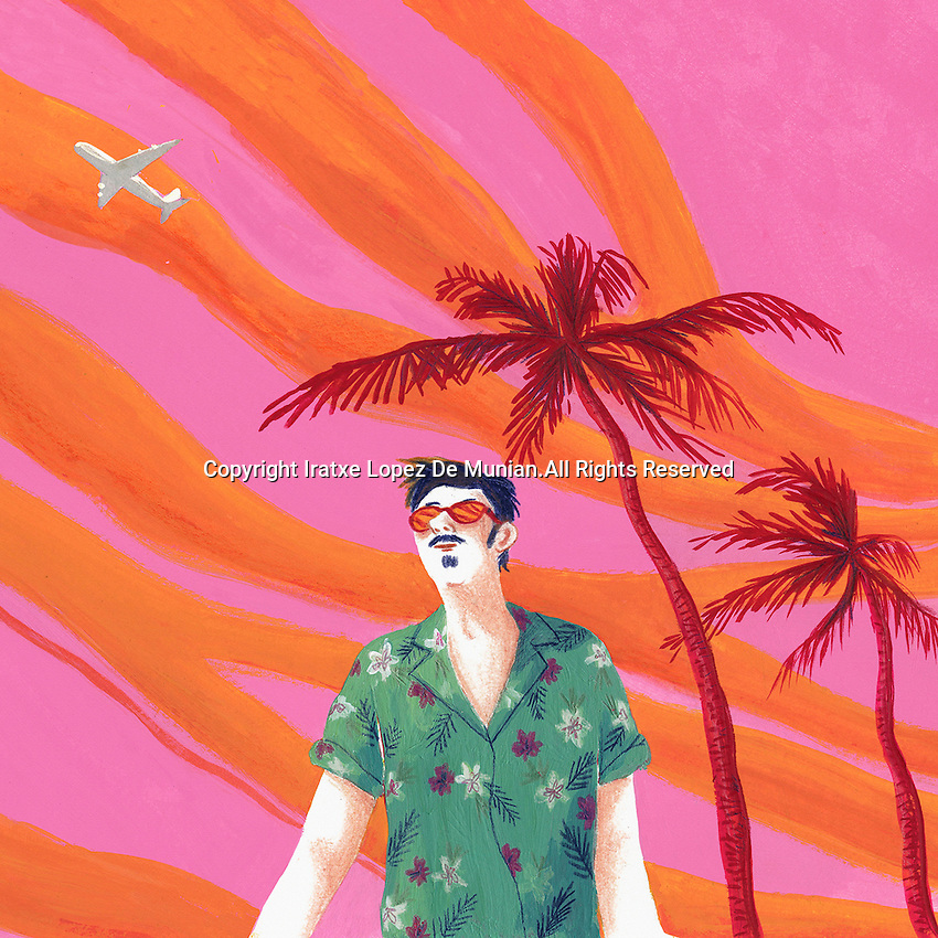 Man in sunglasses on tropical holiday against dramatic sky
