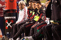 Mexican national team starlet Javier 'Chicharito' Hernandez (14) enjoys his time on the bench after being subbed out in the second half. The national teams of Mexico and Venezuela played to a 1-1 draw in an International friendly match at  Qualcomm stadium in San Diego, California on  March 29, 2011...
