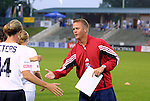 18 June 2003: Atlanta Beat head coach Tom Stone coaches the World All-Stars. The WUSA All-Star Skills Competition was held at SAS Stadium in Cary, NC.