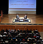 """Palestinian Prime Minister speaks during a seminar about """"Economic and Political Developments in Palestine"""" at al-Najah National University, in the West Bank city of Nablus, Oct. 07, 2012. Photo by Mustafa Abu Dayeh"""