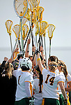 9 April 2008: The University of Vermont Catamounts women's Lacrosse team show team spirit during a game against the University of New Hampshire Wildcats at Moulton Winder Field, in Burlington, Vermont. The Catamounts rallied to defeat the visiting Wildcats 9-8 in America East divisional play...Mandatory Photo Credit: Ed Wolfstein Photo