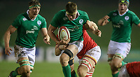 Ireland U20's Oisin Dowling is tackled by Wales U20's Sean Moore<br /> <br /> Photographer Alex Dodd/CameraSport<br /> <br /> RBS Six Nations U20 Championship Round 4 - Wales U20s v Ireland U20s - Saturday 11th March 2017 - Parc Eirias, Colwyn Bay, North Wales<br /> <br /> World Copyright &copy; 2017 CameraSport. All rights reserved. 43 Linden Ave. Countesthorpe. Leicester. England. LE8 5PG - Tel: +44 (0) 116 277 4147 - admin@camerasport.com - www.camerasport.com