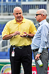 23 April 2010: Washington Nationals' General Manager Mike Rizzo discusses strategies with team owner Mark Lerner prior to a game against the Los Angeles Dodgers at Nationals Park in Washington, DC. The Nationals defeated the Dodgers 5-1 in the first game of their 3-game series. Mandatory Credit: Ed Wolfstein Photo