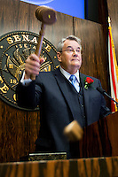 TALLAHASSEE, FLA. 3/4/14-Senate President Don Gaetz, R-Niceville, eagerness to get the session underway was reflected by the gavel-breaking force (note chunk of gavel in mid-air) he applied to bring the Senate into session of the opening day of the legislature, March 4, 2014 at the Capitol in Tallahassee.<br /> <br /> COLIN HACKLEY PHOTO