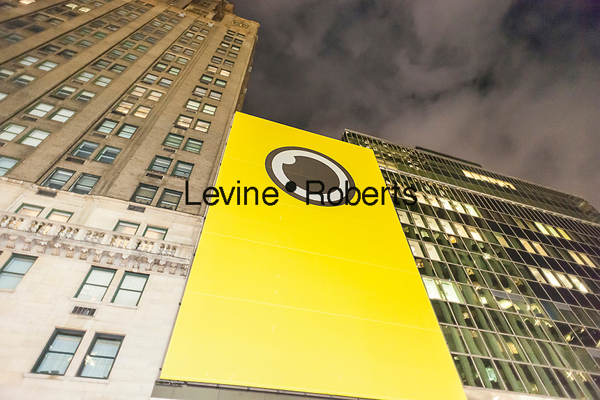 Exterior of the Spectacles pop-up store in New York on Tuesday, November 22, 2016. Snap, formerly Snapchat, opened the store to sell their very limited edition Spectacles, a high-tech pair of glasses with a camera which enables you to post a circular video you create to your Snapchat account. The glasses are sold by a lone vending machine as you wait up to seven hours by some accounts to access, when you can buy two at $129.95 each. (© Richard B. Levine)