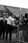November 1, 2007. Durham, NC.. US senator and presidential candidate, Barack Obama, held a fundraiser at O?Kelly Riddick Stadium, at North Carolina Central University, in Durham, NC.. Senator Obama arrives and greets the crowd.