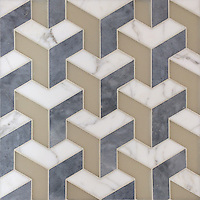 Francois, a handmade mosaic shown in matte Raw Fiber, honed Allure and honed Calacatta Tia, is part of the Illusions™ Collection by Sara Baldwin  Designs for New Ravenna.