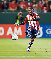 Chivas USA defender Dario Delgado (12) passes the ball up field during the second half of the game between Chivas USA and the Philadelphia Union at the Home Depot Center in Carson, CA, on July 3, 2010. Chivas USA 1, Philadelphia Union 1.